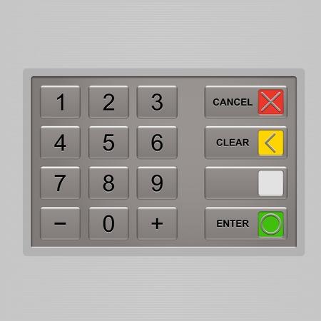 ATM のキーパッド。自動預け払い機のキーボード。