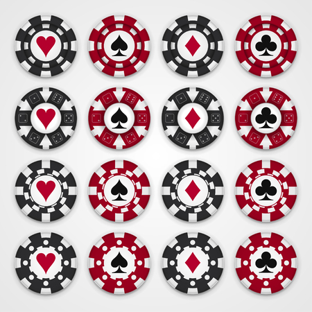 poker chip: Nice set of casino gambling chips, four design types of chips