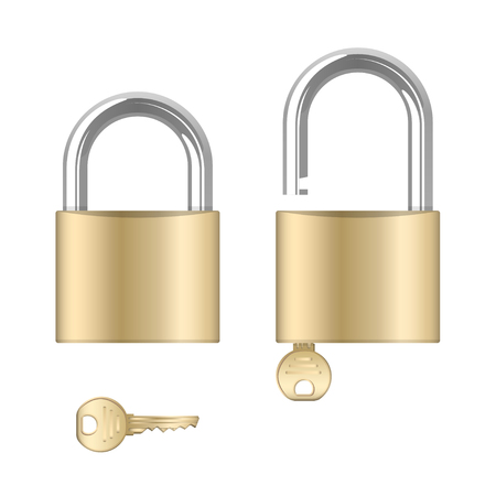 Locked and unlocked padlocks with keys, isolated on white