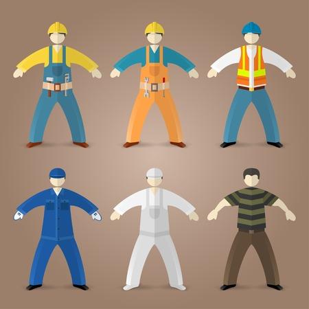 Beroepen set van de bouwers, de werknemers en klaas vaak guy