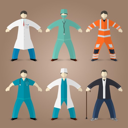 clinical staff: Professions set of medical doctors, male nurse and house md Illustration