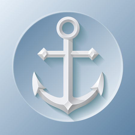 anchored: Awesome icon of anchor with shadow on blue Illustration