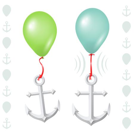 反対: フワッとした気球と重いアンカーの概念的なバランス