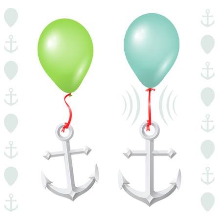 Conceptual balance between floaty balloon and heavy anchor Vector