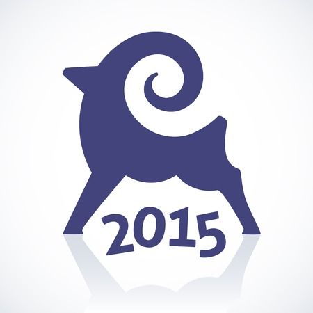 Geometric symbol of a goat for happy new year 2015 Vector