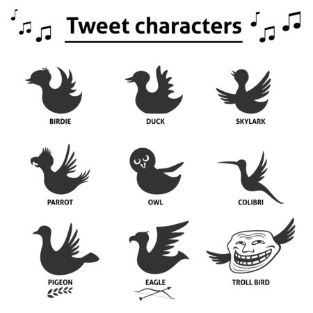troll: Tweet bird characters social media Internet web icons as a signs of post style.