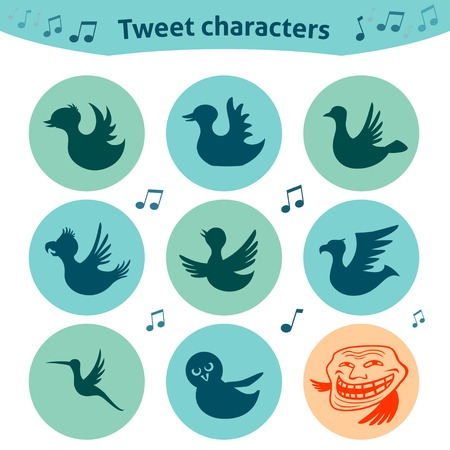 tweet: Trendy round icons of tweet bird characters. Nice social media Internet for definition of style of tweet posts.