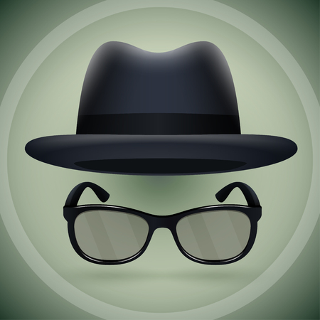 Black fedora and eyeglasses for creating strict business style. Illustration