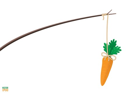 Carrot and stick motivation illustration. Fits for any article about combination of rewards and punishments. Imagens - 32885641