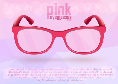 Pink eyeglasses as a symbol of optimistic positive lifestyle