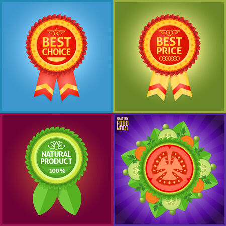 Nice label set for definition of best product features such as quality, price or healthy mark. Vector