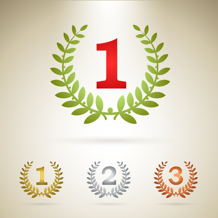 first place: First place emblem, plus additional icons of gold, silver and bronze awards. Illustration
