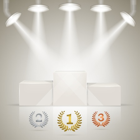 Illuminated sport winners pedestal with laurel awards for winners. Vector