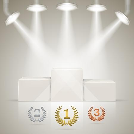 winner podium: Illuminated sport winners pedestal with laurel awards for winners. Illustration