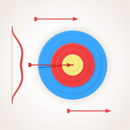 hits: One arrow hits the center of a target, but others not.