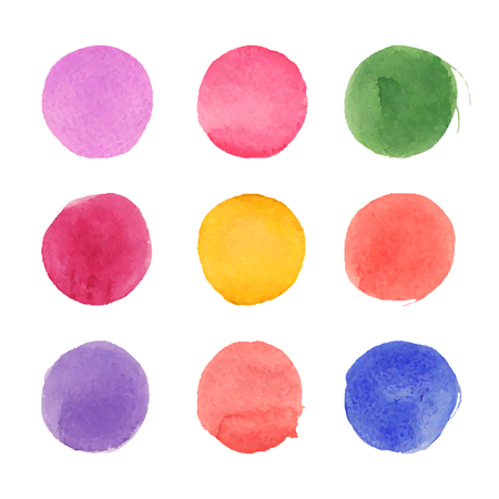 Set of watercolor circles. Nice round shaped spots. 일러스트