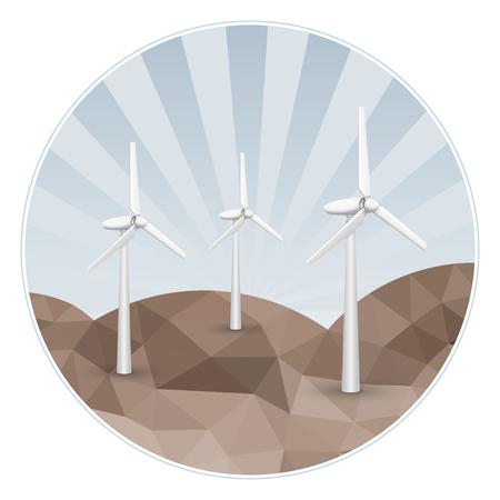 Drei Windkraftstromerzeuger auf den Felsen. Standard-Bild - 33007267