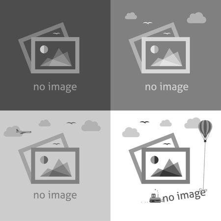 Brak obrazu w skali szarości twórcze znaki. Internet web ikona informująca o braku obrazu, aż zostanie on pobrany. Ilustracje wektorowe