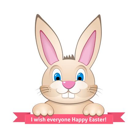 Nettes Häschen wünscht Frohe Ostern an alle, Standard-Bild - 37640335