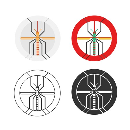 stinging: Dengue mosquito logo set. Beware of malaria or ague from mosquito bites. Graphic elements for web design or printing. Illustration
