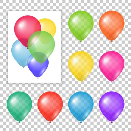 Set of party balloons on transparent background. Different colored realistic balloons vector illustration.