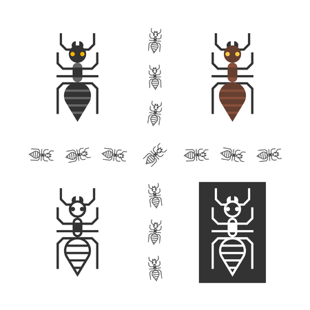 anthill: Black ant logo set. One ant logo made in four variations for web design or printing. Illustration