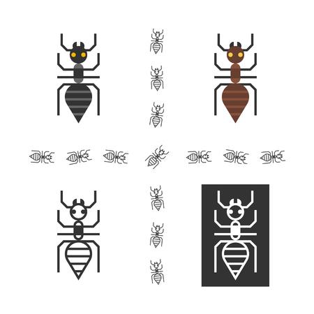 anthill: Black ant logo set. One ant logo made in four variations for web design or printing. Illustration