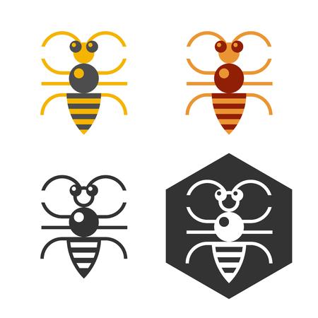 Abstrakt bee logo gesetzt. Wohnung bee logo in vier Varianten für Web-Design oder Druck. Standard-Bild - 38816478