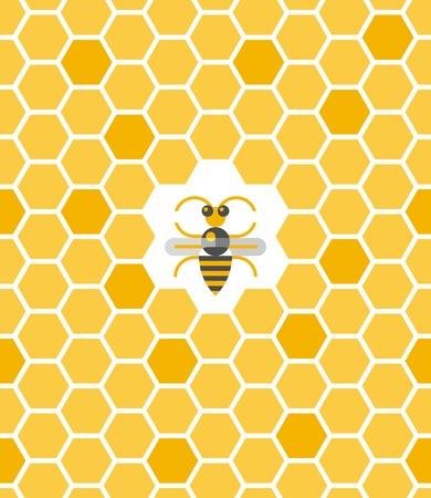 abejas panal: Patrón geométrico dulce con nido de abeja y de la abeja en el centro. Sin fisuras ilustración vectorial fondo plano. Vectores