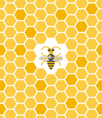 bee honey: Sweet geometric pattern with honeycomb and bee in the center. Seamless flat background vector illustration.