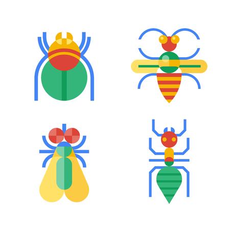 Vier abstrakte Insekten mit gelb, blau, rot und grün gefärbt. Standard-Bild - 38816482