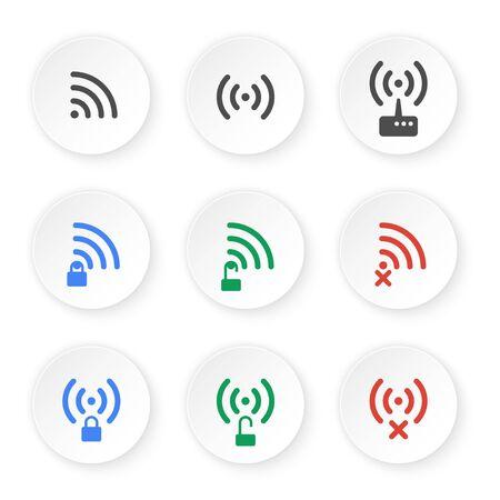 Reihe von Icons von drahtlosen Verbindungen. Öffnen Sie den Status Ihrer privaten und keine Verbindung WiFi Piktogramme. Standard-Bild - 38816483
