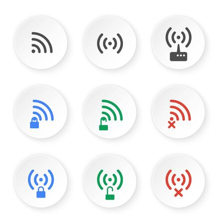 connection connections: Set of icons of wireless connections. Open status, private and no connection WiFi pictograms.