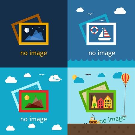 Geen afbeelding creatieve vector illustraties. Het gebruik voor het versieren van lege ruimtes waar afbeelding of foto zou moeten zijn. Stock Illustratie