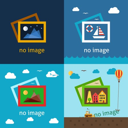 No image creative vector illustrations. Using for decorating empty spaces where image or photo should be. Vector