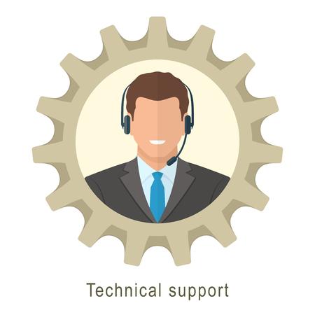 Technische Unterstützung Mann mit Kopfhörern. Wohnung Vektor-Illustration der technischen Support Kerl immer bereit zu helfen. Standard-Bild - 38816488