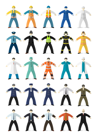 Profession people. Different characters made in cartoon flat style. Vector illustration. Vector