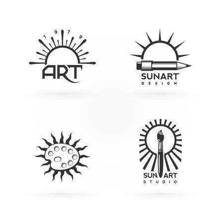 Four logo concepts of art and sun combination. Nice fit for creative people or designers.