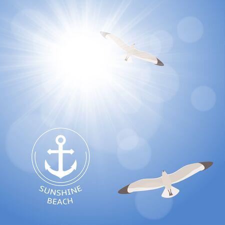 Leuchtende Sommersonne auf klaren, blauen Himmel mit Möwen Standard-Bild - 38816469