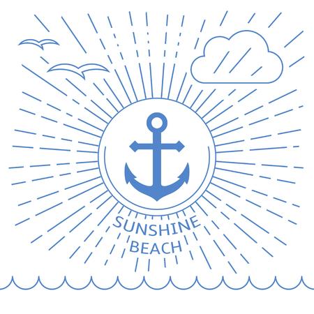 Sommer-Strand-Illustration mit Umrisslinien. Verankerung in der Mitte als Symbol für Urlaub am Meer. Standard-Bild - 38816471