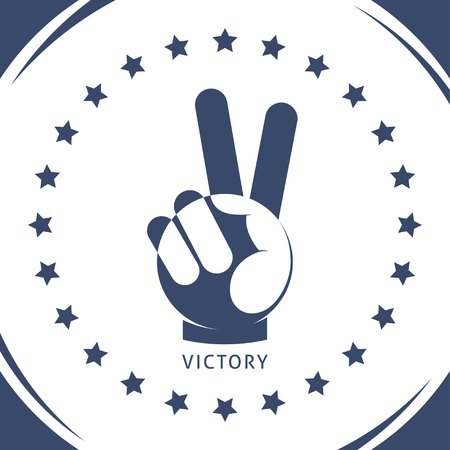 victory sign: Geometric hand gesture of victory and stars around.