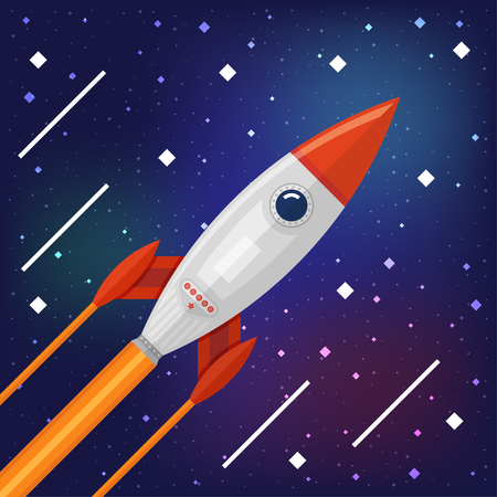 new world: Space rocket flying through the Cosmos for a new world discovery mission