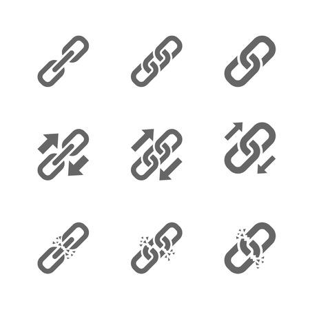 cadena rota: Hay tres tipos de iconos de enlace. Simple enlace, intercambio de enlaces y un enlace roto. Vectores