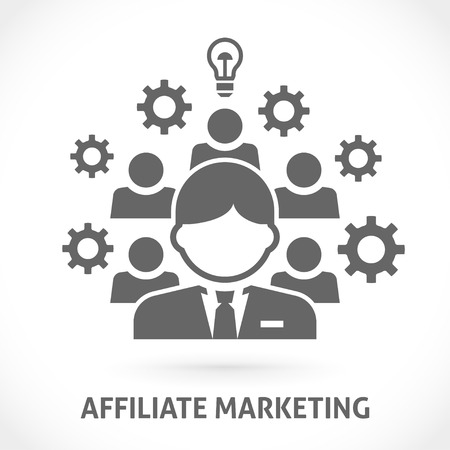 Affiliate marketing vector illustration. Affiliate network with referrals, business processes and ideas.