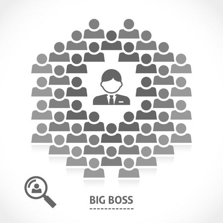 reprimand: Concept of big boss successful team building