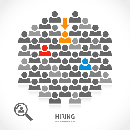 hiring: Concept of hiring new vacancy. It is very hard to find a chosen one good worker. Illustration