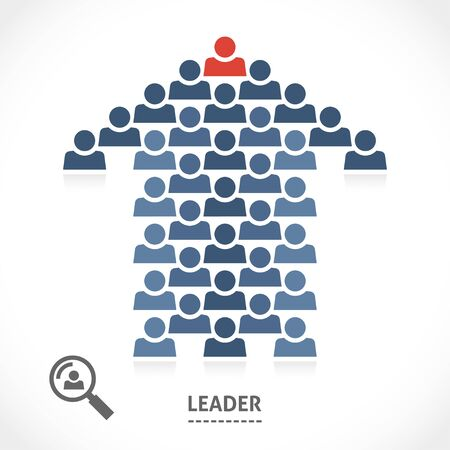 knows: Leadership conceptual illustration. Leader always knows the right direction. Illustration