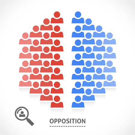 Zwei gegenüberliegende Teams mit unterschiedlichen Meinungen. Konzeptionelle Vektor-Illustration der Opposition. Standard-Bild - 41852982
