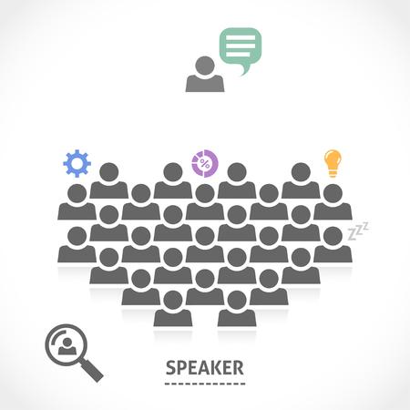 Spreker leest een lezing voor een publiek. Redenaar spreken over leuke innovatieve business ideeën.