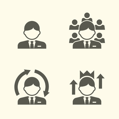 Office kerelportret icon set. Boss icon, affiliate manager, zelf verbeterd kerel en upgraden kennis of positie. Stock Illustratie